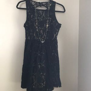 Tracy Reese black lined lace sleeveless dress